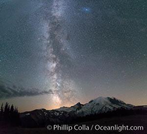 Milky Way and stars at night above Mount Rainier. Sunrise, Mount Rainier National Park, Washington, USA, natural history stock photograph, photo id 28724