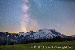 Milky Way and stars at night above Mount Rainier. Sunrise, Mount Rainier National Park, Washington, USA, natural history stock photograph, photo id 28728