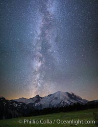 Milky Way and stars at night above Mount Rainier. Sunrise, Mount Rainier National Park, Washington, USA, natural history stock photograph, photo id 28730