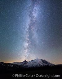 Milky Way and stars at night above Mount Rainier. Sunrise, Mount Rainier National Park, Washington, USA, natural history stock photograph, photo id 28732