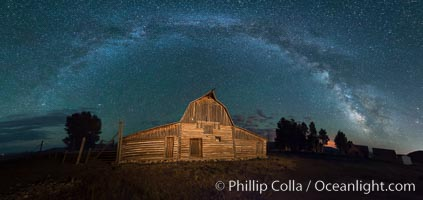 Image 32304, Milky Way over John Moulton Barn, Grand Teton National Park, Phillip Colla, all rights reserved worldwide. Keywords: astrophotography, astrophotography landscape, barn, evening, farm, grand teton, grand teton national park, landscape, milky way, mormon, mormon row, moulton barn, mountain, national park, nature, night, outdoors, outside, scene, scenery, scenic, settlement, settler, stars, structure, ta moulton, wyoming.