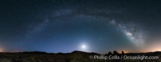 Joshua Tree National Park, Milky Way and Moon, Shooting Star, Comet Panstarrs, Impending Dawn