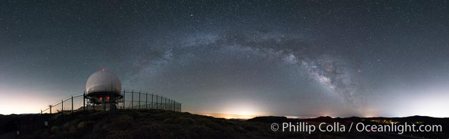 Milky Way over Mount Laguna FAA Radar Site, including ARSR-4 radome (radar dome)