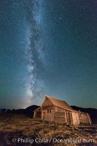 Milky Way over T.A. Moulton Barn, Grand Teton National Park, natural history stock photograph, photo id 32316