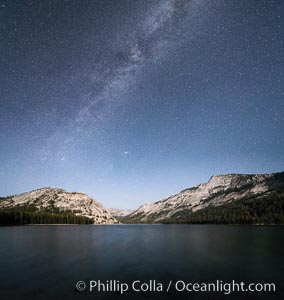 Image 31184, Milky Way over Tenaya Lake, Polly Dome (left), Tenaya Peak (center), Yosemite National Park. Yosemite National Park, California, USA, Phillip Colla, all rights reserved worldwide. Keywords: alpine, astrophotography, eastern sierra, evening, galaxy, lake, landscape astrophotography, milky way, mountain, night, outdoors, outside, panorama, panoramic photo, polly dome, scene, scenery, sierra nevada, stars, tenaya lake, tenaya peak, tuolumne meadows, yosemite, yosemite national park.