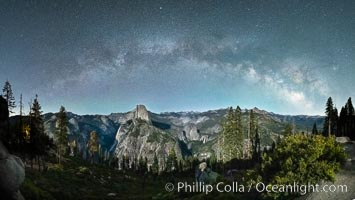 The Milky Way arches over Half Dome, and the Yosemite High Country, Yosemite National Park, California