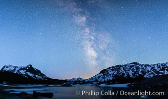 Milky Way over Tioga Lake, Yosemite National Park. California, USA, natural history stock photograph, photo id 28521