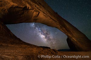Milky Way and Stars through Wilson Arch. Wilson Arch rises high above route 191 in eastern Utah, with a span of 91 feet and a height of 46 feet, Moab