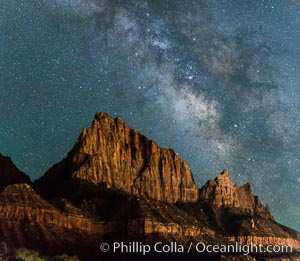 Milky Way over the Watchman, Zion National Park.  The Milky Way galaxy rises in the night sky above the the Watchman. Utah, USA, natural history stock photograph, photo id 28588
