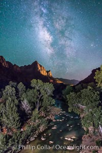 Milky Way over the Watchman, Zion National Park.  The Milky Way galaxy rises in the night sky above the the Watchman