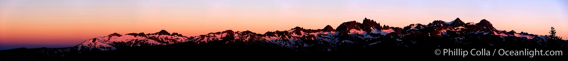 Panorama of the Minarets at sunrise, near Mammoth Mountain.  The Minarets are a series of seventeen jagged peaks in the Ritter Range, west of Mammoth Mountain in the Ansel Adams Wilderness.  These basalt peaks were carved by glaciers on both sides of the range.  The highest of the Minarets stands 12,281 feet above sea level, Mammoth Lakes, California