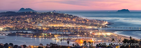 Mission Bay, Ocean Beach, Point Loma and Coronado islands, at night, San Diego, California