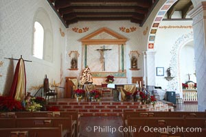Mission San Luis Obispo del Tolosa, chapel interior.  Established in 1772, Mission San Luis Obispo de Tolosa is a Spanish mission founded by Junipero Serra, first president of the California missions.  It was the fifth in a chain of 21 missions stretching from San Diego to Sonoma.  Built by the Chumash indians living in the area, its combination of belfry and vestibule is unique among California missions.  In 1846 John C. Fremont and his California battalion quartered here while engaged in the war with Mexico