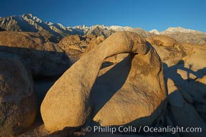 Moebius Arch, a 17-foot-wide natural rock arch found amid the spectacular granite and metamorphose stone formations of the Alabama Hills, near the eastern Sierra town of Lone Pine, Alabama Hills Recreational Area