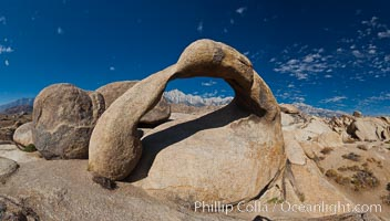 Mobius Arch panorama, with Mount Whitney (the tallest peak in the continental United States), Lone Pine Peak and Sierra Nevada Range framed within the arch. Mobius Arch is a 17-foot-wide natural rock arch in the scenic Alabama Hills Recreational Area near Lone Pine, California