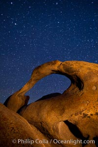 Mobius Arch and stars at night, Alabama Hills, California. Alabama Hills Recreational Area, California, USA, natural history stock photograph, photo id 27672