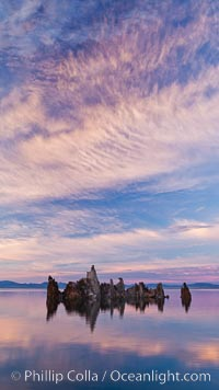 Image 26977, Mono Lake sunset, tufa and clouds reflected in the still waters of Mono Lake. Mono Lake, California, USA, Phillip Colla, all rights reserved worldwide. Keywords: california, dusk, evening, habitat, lake, lake mono, mono lake, night, outdoors, outside, reflection, saline lake, scene, scenery, scenic, sierra, sierra nevada, sunset, tufa, tufa tower, usa, water.