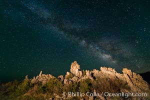 Tufa and Stars at Night, Milky Way galaxy. Mono Lake, California, USA, natural history stock photograph, photo id 28507