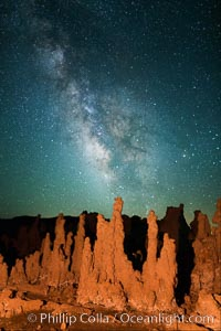 Tufa and Stars at Night, Milky Way galaxy. Mono Lake, California, USA, natural history stock photograph, photo id 28519
