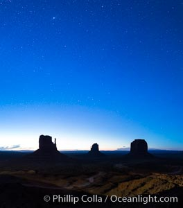 Monument Valley panorama, sunrise, dawn, stars in the sky