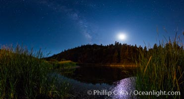 Moon and Milky Way over Doane Pond, Palomar Mountain State Park