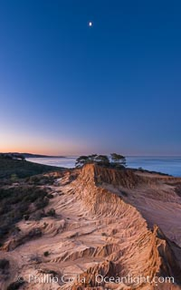 Quarter Moon over Broken Hill, Torrey Pines State Reserve. San Diego, California, USA, natural history stock photograph, photo id 28366