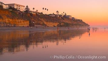 Moonlight Beach at sunset. Moonlight Beach, Encinitas, California, USA, natural history stock photograph, photo id 21794