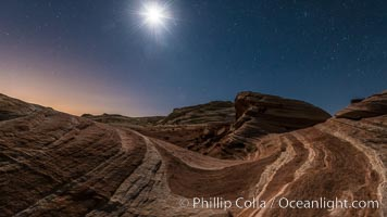 The Fire Wave by Moonlight, stars and the night sky, Valley of Fire State Park. Valley of Fire State Park, Nevada, USA, natural history stock photograph, photo id 28439