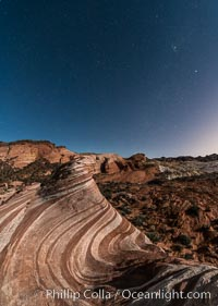 The Fire Wave by Moonlight, stars and the night sky, Valley of Fire State Park. Nevada, USA, natural history stock photograph, photo id 28443