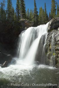 Moose Falls is a 30 foot drop in the Crawfish Creek just before it joins the Lewis River, near the south entrance to Yellowstone National Park