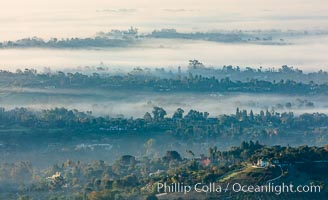Morning mist over Olivenhain township, North County, San Diego