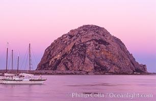 Morro Rock and Morro Bay, pink sky at dawn, sunrise