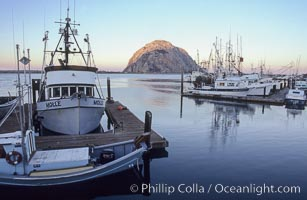 Fishing boats line the docks at sunrise, Morro Rock in the background, Morro Bay, California