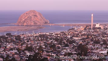 Morro Rock and Morro Bay, in pink pre-sunrise light