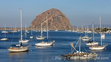 Morro Bay, boats and Morro Rock in the distance