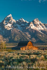 John Moulton barn at sunrise with Teton Range, on Mormon Row in Grand Teton National Park, Wyoming