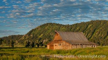 John Moulton barn with Teton Range, on Mormon Row in Grand Teton National Park, Wyoming