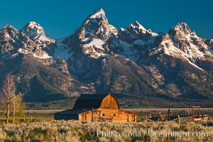The spectacular Teton Range rises above Mormon Row, Schwabacher Landing, the Snake River and Jackson Lake in Wyoming's beautiful Grand Teton National Park.  Stock Photography and fine art prints.