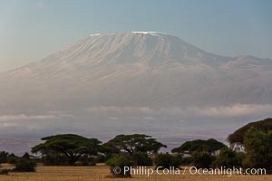 Mount Kilimanjaro, Tanzania, viewed from Amboseli NP, Kenya, Amboseli National Park