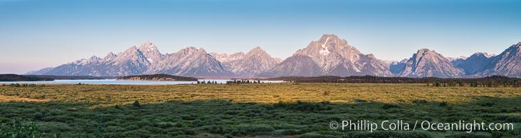 Mount Moran and Teton Range at sunrise from Willow Flats, Grand Teton National Park