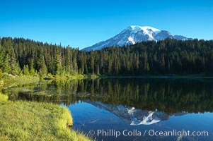 Mount Rainier is reflected in the calm waters of Reflection Lake, early morning. Reflection Lake, Mount Rainier National Park, Washington, USA, natural history stock photograph, photo id 13853