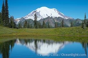 Mount Rainier is reflected in Upper Tipsoo Lake, Tipsoo Lakes, Mount Rainier National Park, Washington