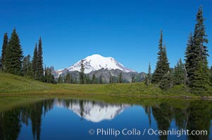 Mount Rainier is reflected in Upper Tipsoo Lake. Tipsoo Lakes, Mount Rainier National Park, Washington, USA, natural history stock photograph, photo id 13836