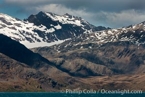 Mountains, glaciers and ocean, the rugged and beautiful topography of South Georgia Island. Grytviken, South Georgia Island, natural history stock photograph, photo id 24389
