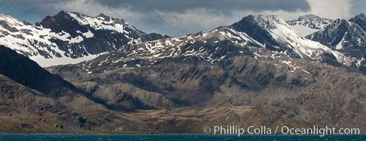 Mountains, glaciers and ocean, the rugged and beautiful topography of South Georgia Island, Grytviken