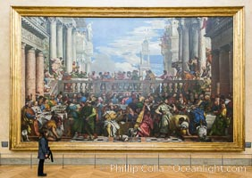 Image 28105, Les Noces de Cana, The Wedding at Cana, by Paolo Veronese. Musee du Louvre. Musee du Louvre, Paris, France, Phillip Colla, all rights reserved worldwide. Keywords: france, louvre, louvre museum, musee du louvre, museum, painting, paolo veronese, paris, veronese.