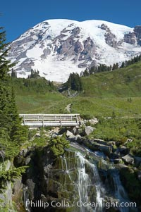 Myrtle Falls, where Edith Creeks tumbles down a small crevasse below Mount Rainier, Paradise. Mount Rainier National Park, Washington, USA, natural history stock photograph, photo id 13880