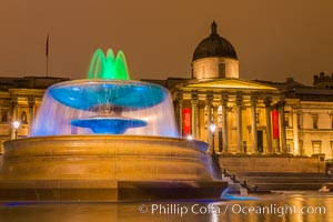 National Gallery at Night. National Gallery, London, United Kingdom, natural history stock photograph, photo id 28288
