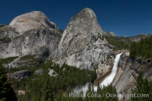 Half Dome and Nevada Falls, with Liberty Cap between them, viewed from the John Muir Trail / Panorama Trail.  Nevada Falls is in peak spring flow from heavy snowmelt in the high country above Yosemite Valley. Yosemite National Park, California, USA, natural history stock photograph, photo id 26857