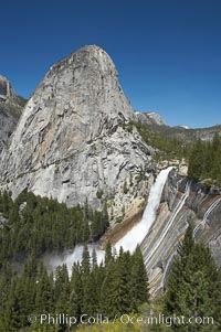Nevada Falls, with Liberty Cap rising above it. Nevada Falls marks where the Merced River plummets almost 600 through a joint in the Little Yosemite Valley, shooting out from a sheer granite cliff and then down to a boulder pile far below. Nevada Falls, Yosemite National Park, California, USA, natural history stock photograph, photo id 16117